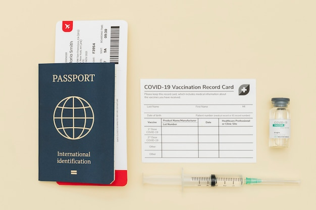 Covid-19 vaccine certificate with passport travel permit