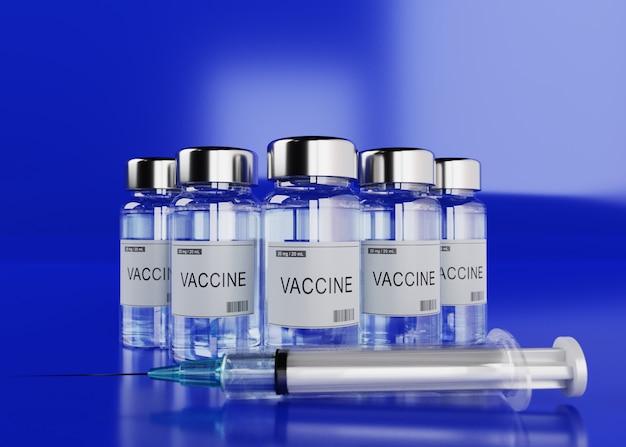Флакон с вакциной covid-19 и инъекция