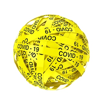 Covid-19 yellow tape strips in shape of ball or sphere on a white background. 3d rendering