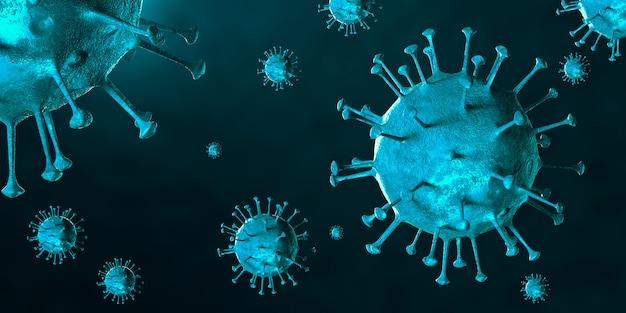 顕微鏡下でのcovid-19ウイルスのイラスト