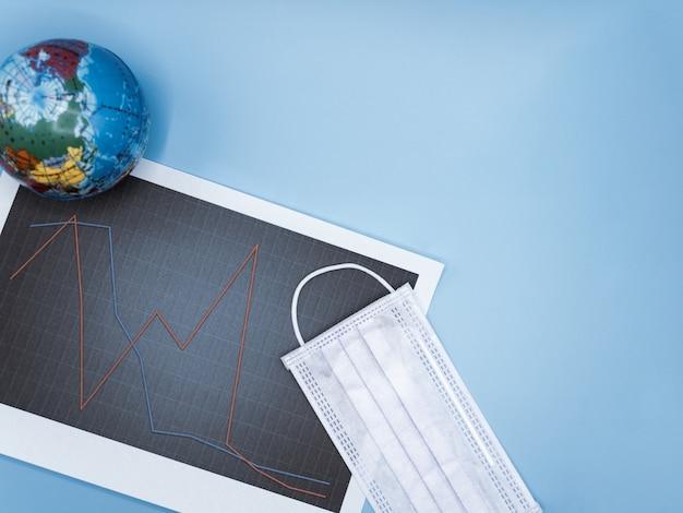 株価チャートのサージカルマスクと地球儀は、危機的covid-19中の激しい価格変動を示しています。