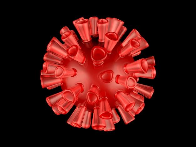 コロナウイルス別名covid-19ウイルスの視覚化が黒に分離