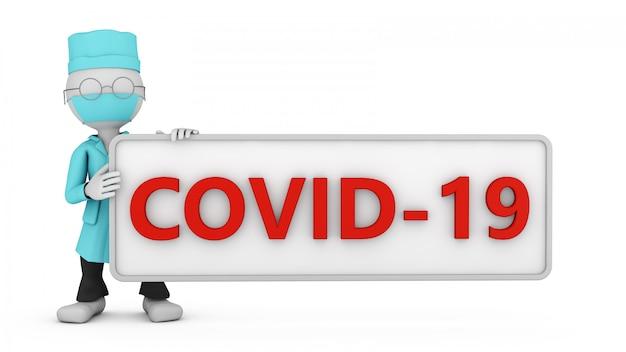 「covid-19」と書かれた看板を持つ医師