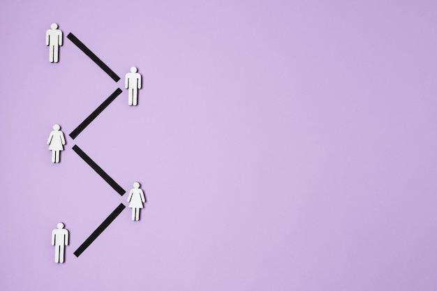紫色の背景フラットレイとcovidコンセプト