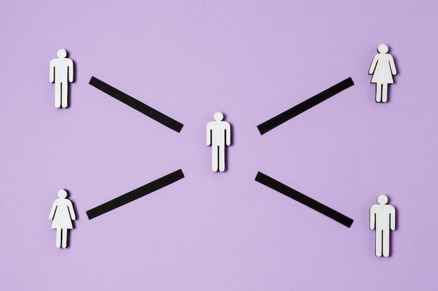 紫色の背景の上面図とcovidコンセプト