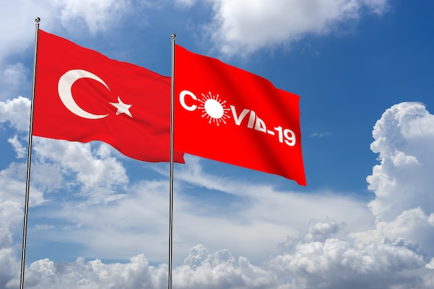 Covid19 in cloud background with turkey flag and icon 3d rendering