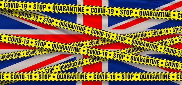영국의 covid19 코로나바이러스 검역소. 영국 국기 배경입니다. 3d 일러스트레이션