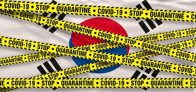 韓国のcovid19コロナウイルス検疫エリア。韓国の旗の背景。 3dイラストレーション