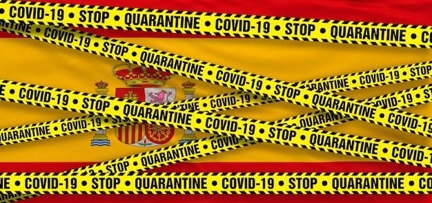 스페인의 covid19 코로나바이러스 검역소. 스페인 국기 배경입니다. 3d 일러스트레이션