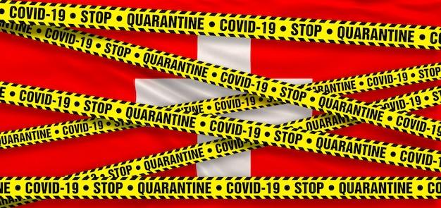 스위스의 covid19 코로나바이러스 검역소. 스위스 국기 배경입니다. 3d 일러스트레이션