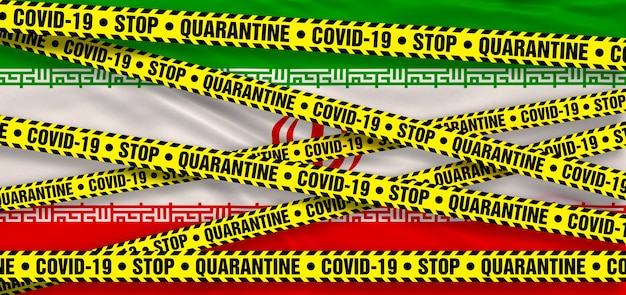 Covid19 coronavirus quarantine area in iran. iranian flag background. 3d illustration