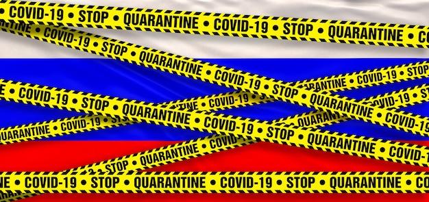 Covid19 coronavirus quarantine area in russian federation. russian flag background. 3d illustration