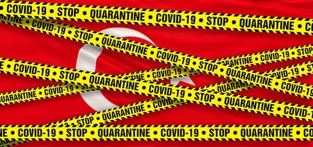 Covid19 coronavirus quarantine area in turkey. turkish flag background. 3d illustration