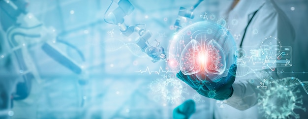 Covid19 의사와 로봇은 내부에 퍼진 코로나바이러스로 인간의 폐를 연구하고 진단합니다