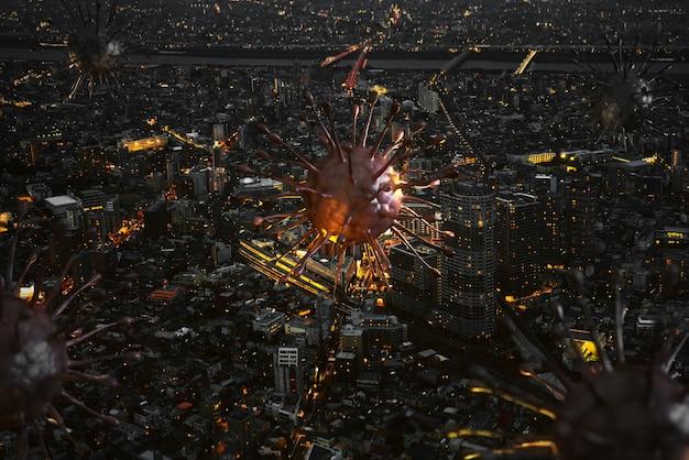 밤에 도시의 covid19 또는 코로나바이러스는 대도시 3d 렌더에서 바이러스의 확산을 보여줍니다