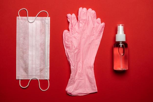 保護疾患。医療用人工呼吸器の包帯の表面消毒剤のゲルと実験用手袋-ウイルス保護装置外科用マスク。 covid中東呼吸器症候群コロナウイルス
