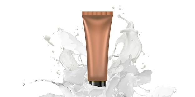 牛乳製品美容製品広告モックアップミルキースキンケアコンセプト3dイラストカットパスと白い背景