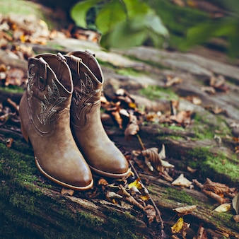 Cowboy fashion style. boots close-up outdoors