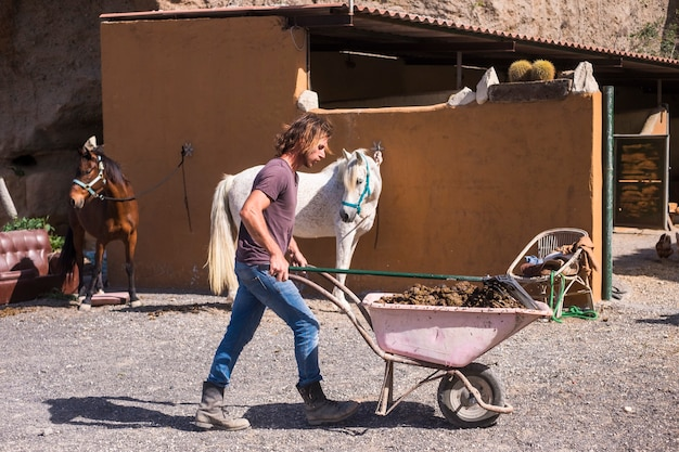 Человек-ковбой, работающий на ферме с лошадьми.