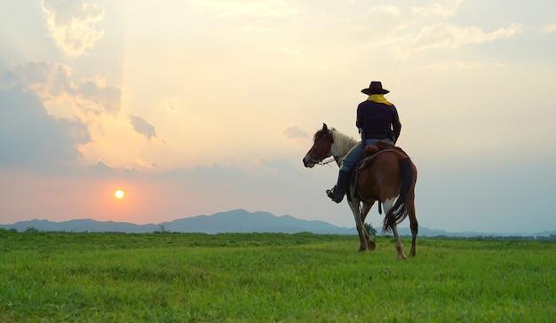 フィールドの日没に対してカウボーイ乗馬馬