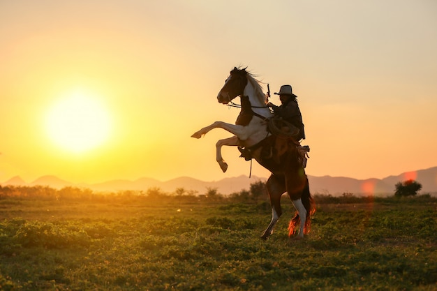 Cowboy riding horse against sunset