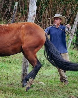 Ковбой, укрощающий походку лошади-новичка