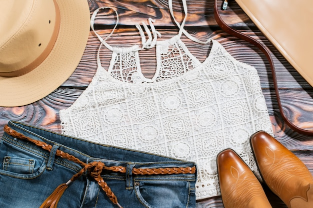 Cowgirl outfit - overhead of trendy casual woman clothes
