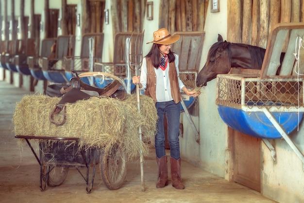 Скотницы работая на ферме лошади, sakonnakhon, таиланд.