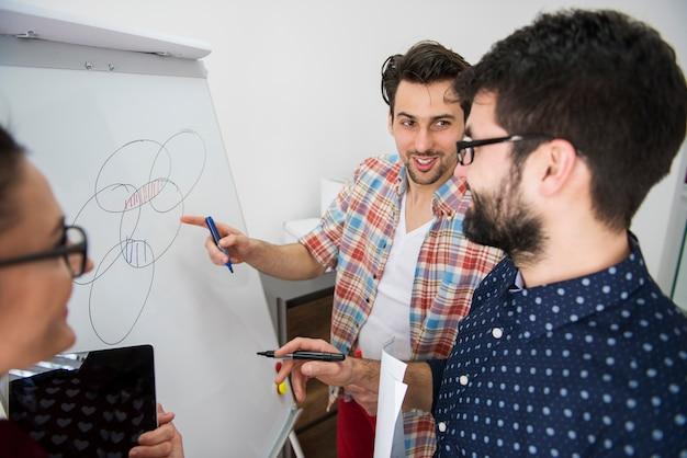 Collaboratori che lavorano sulla strategia aziendale