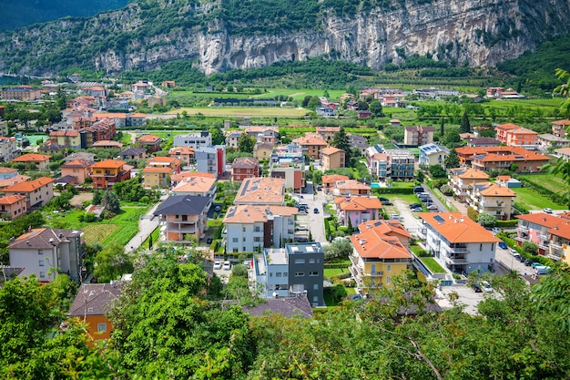 Cozy aerial view of the houses in nago torbole in lake garda, italy
