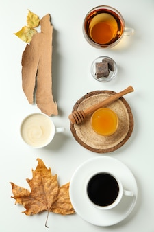 Cozy autumn concept background with tea and coffee