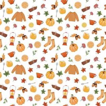 Cozy autumn mood seamless pattern