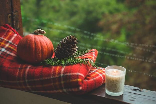 居心地の良い秋の静物:ホットコーヒーのカップと赤い毛布、カボチャ、松ぼっくり、キャンドル、外の雨とヴィンテージの窓辺の開いた本。秋。アパート。雨