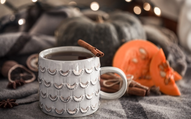 Cozy autumn still life with cup of tea and pumpkin , with cinnamon sticks on a warm plaid , a concept in the fall or winter season