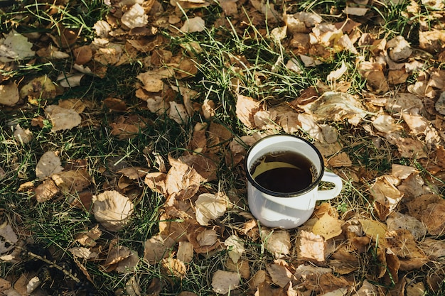 Cozy autumn still life with metal cup with hot beverage on grass and yellow leaves