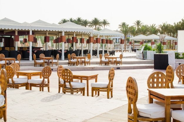 Cozy bar or cafe on territory of five star hotel with sea view in sharm el sheikh.