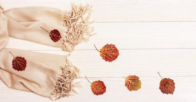 아늑한 베이지 색 스카프와 아스펜 나무의 자연 잎 붉은 단풍은 가벼운 나무 표면에 평평하게 놓입니다.