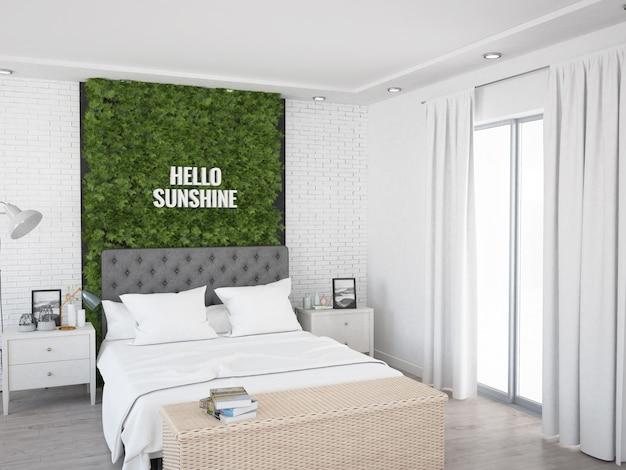 Уютная спальня с кирпичной стеной с окном на террасу и шторами