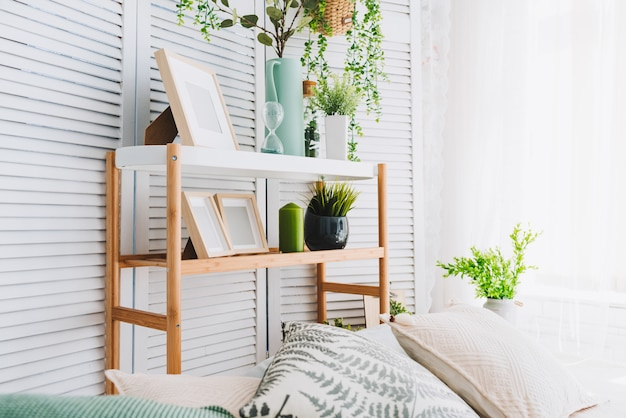 Cozy brightly lit room corner decorated with various objects such as picture frames, plants and pillows
