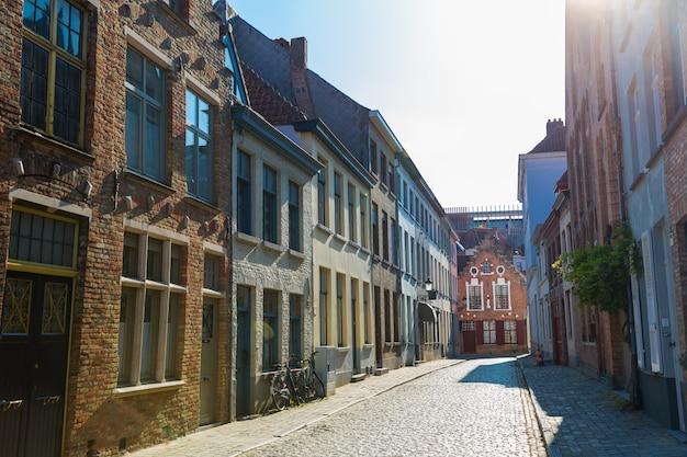 Cozy buildings, street in old provincial european town.