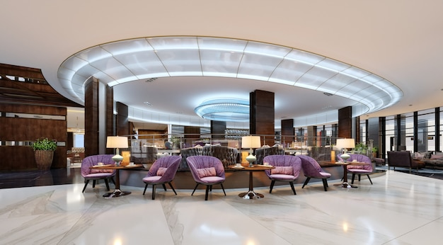 A cozy cafeteria in the lobby with comfortable upholstered chairs and a table with a lamp. 3d rendering