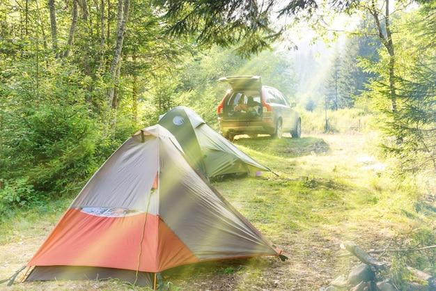 テントと車のある緑の日当たりの良い芝生での居心地の良いキャンプ