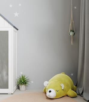 黄色いクマ、3dレンダリングと居心地の良い子供部屋のインテリアの背景