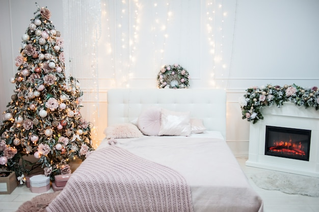 Cozy christmas atmosphere at home and christmas tree