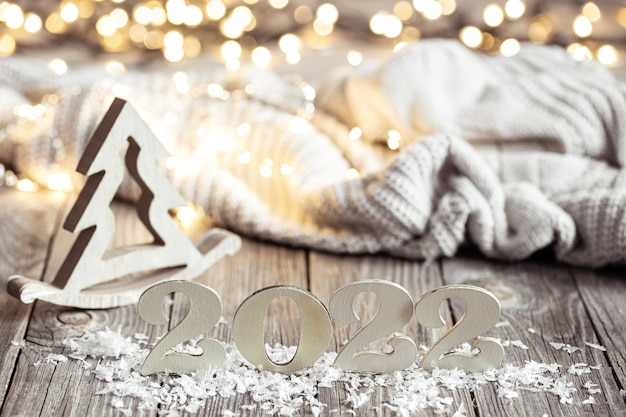 Cozy christmas composition with number  and decor details