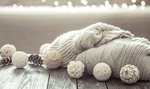 Cozy christmas decorations on a wooden table