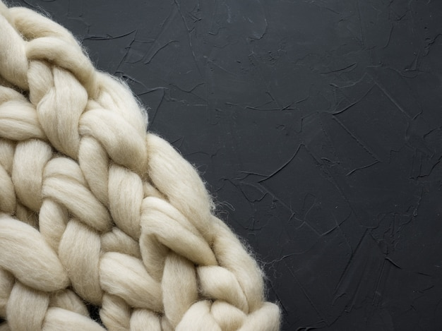 Cozy composition, closeup merino wool blanket