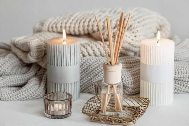 Cozy composition in scandinavian style with decorative details for the home.