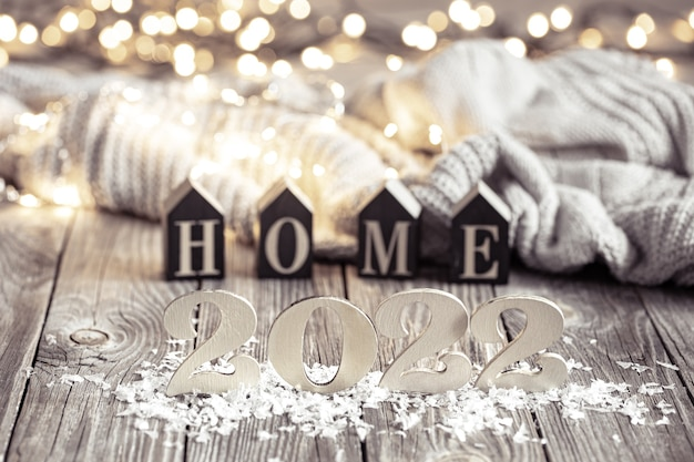 Cozy festive composition with the numbers  and decor details close up