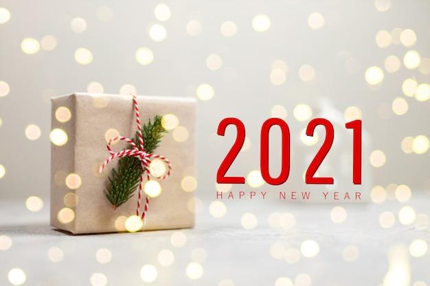Уютная праздничная композиция с текстом 2021 года